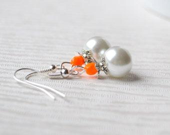 Burnt orange Beaded Bridesmaid earrings Orange jewelry Flower girl earrings Bridesmaid gift jewelry wedding party earrings