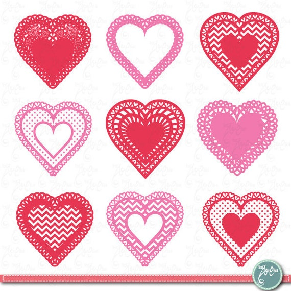 Heart shaped doilies Clipart LOVE DOILIES clip