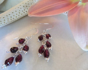 Garnet cluster earrings, January birthstone earrings, Sterling silver earrings, Dangle earrings, Faceted earrings