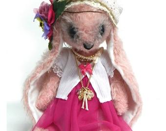 KIARA, pink french shabby chic mohair bunny rabbit, handmade artist bear OOAK