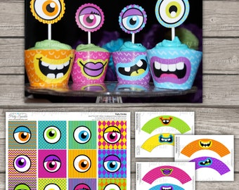 "INSTANT DOWNLOAD - Silly Monsters Cupcake Set - Toppers and wrappers Unpersonalized Birthday 2"" Party Circles Digital pdf file"