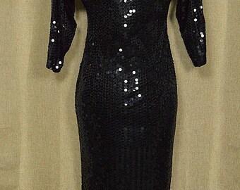Vintage 1980s Black Sequinned Low Back Dress, Oleg Cassini