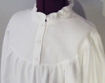 Girl's White Muslin Historical Nightgown, 1800's Prairie/Victorian Style    Sizes 4-14