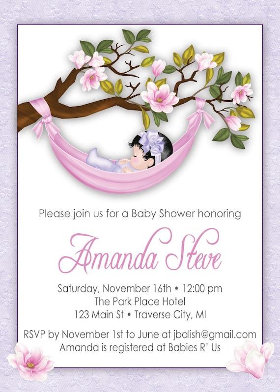 girl baby shower invitations unique baby shower invitation hammock