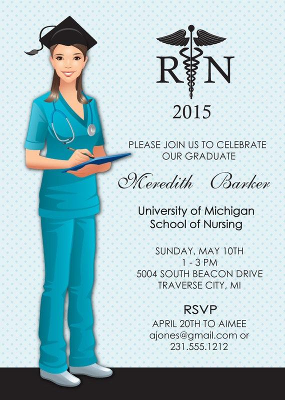 nurse graduation invitation nursing school by announceitfavors