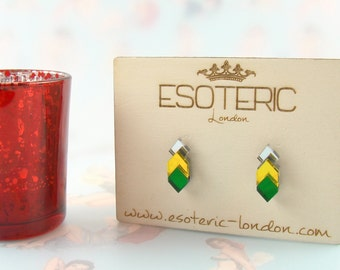 Mirror Perspex Geometric Stud Earrings - Silver / Green / Yellow