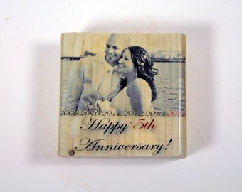 WOOD ANNIVERSARY GIFT: Five Year Anniversary Gift, 5x5 Personalized Photo Blocks, Solid Wood, Gift for Wife, Photo Gift, Gift for Husband