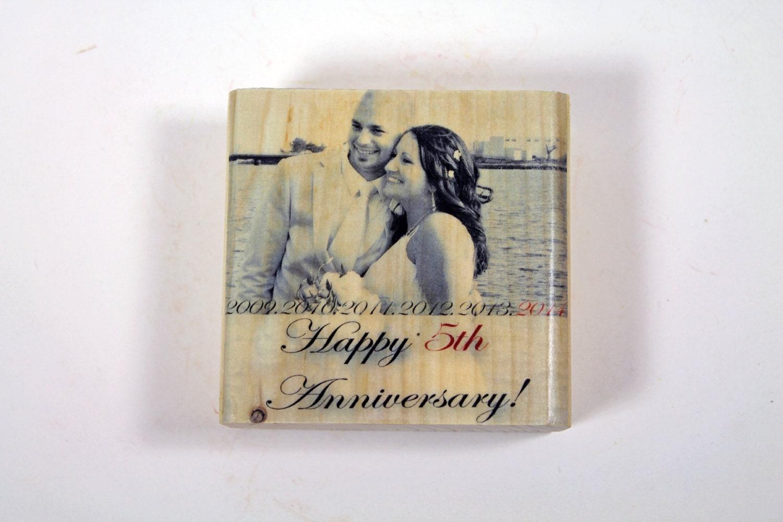 WOOD ANNIVERSARY GIFT: Five Year Anniversary Gift 5x5