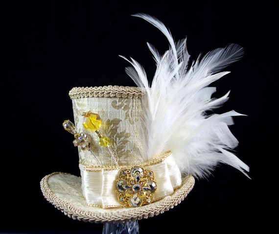 Gold and Cream Empress Collection Large Mini Top Hat Fascinator, Alice in Wonderland, Mad Hatter Tea Party, Bridal