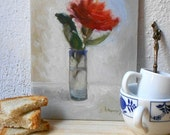 Red Rose in Mexican Shot Glass - Original Oil Painting, Signed & Numbered
