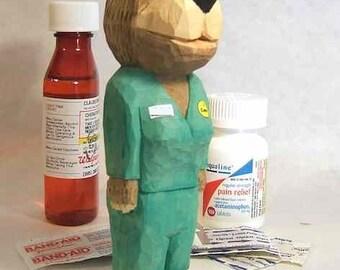 Care Bear Nurse Wood Carving Thank You Gift Art Sculpture