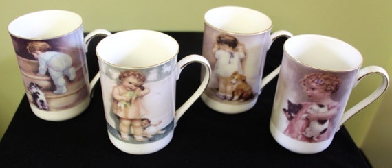 Set of 4 Milano Floral Collection Fine Bone China Coffee Mugs