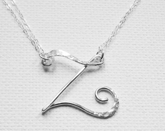 "Personalized Necklace, Letter ""Z"" Necklace, Large Letter Necklace, Letter Necklace, Initial Necklace, Sterling Silver Letter Necklace"