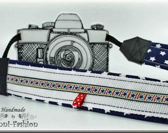Camera strap, green, camerastrap, maritime, nautical, blue, white