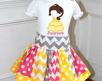 Belle outfit. Princess birthday skirt set for baby toddler girl. Belle shirt with name and matching skirt. Size 2t 3t 4t 5 6 8 10 12 months