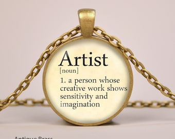 Artist Dictionary Definition Pendant Necklace or Keyring Glass Art Print Jewelry Charm Gifts for Her or Him