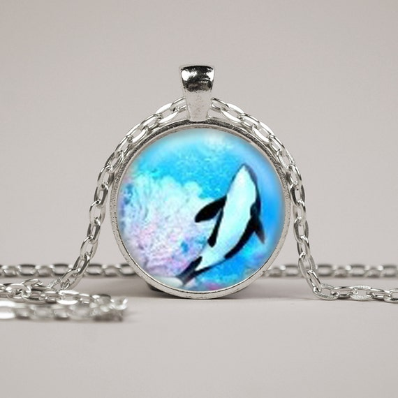 killer whale necklace or keyring glass print jewelry charm