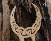 Celtic Moon Hair Fork, Handmade Linden Wood Hair Pin, Handcarved Celtic Knot, Two Pronged Handmade Hair Stick, Eco-friendly hair accessories