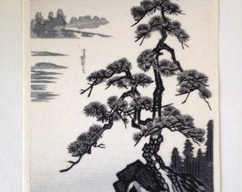 Handmade Japanese Color Woodblock Woodcut Block Print - Tree On Cliff