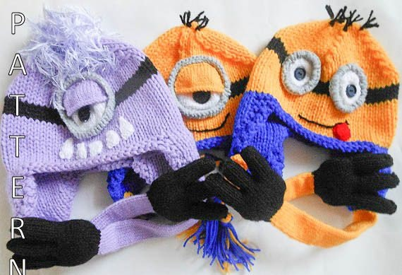 Knitting Pattern Minion Despicable Me : Minion Hat Knitting Pattern by WistfullyWoolen on Etsy