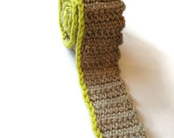 natural (25) with chartreuse (03) pinstripe handmade crochet knit tie / square bottom / wool tie