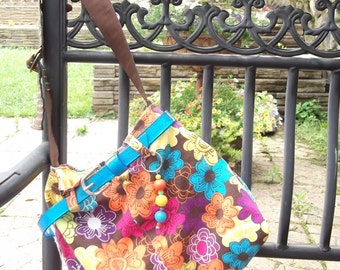 Splash of colors handbag - Turquoise belt - Cheerful and bright - Purse from Recyled shorts.