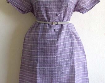 Vintage 60s secretary sweet plaid Rockabilly Majorette shirt dress summer M L Purple lavender