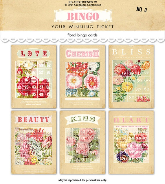 Digital pastel flowered bingo cards by KB and Friends™.