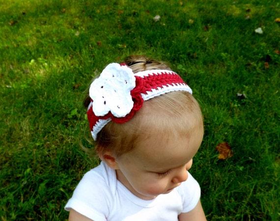Red and White Flower Baby Headband-  Christmas Baby Headband