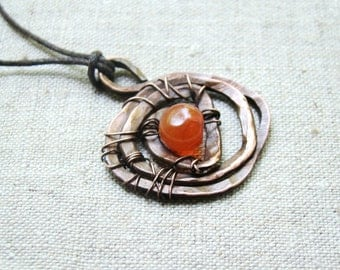 Carnelian necklace, gemstone necklace, Carnelian pendant, brown, christmas gift