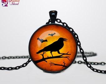 Halloween Raven necklace Halloween Raven pendant  Halloween jewelry Trick or Treat Halloween Pendant Halloween  jewelry black orange