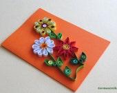 Happy Birthday Card Handmade Quilling Flower, Thanksgiving Card