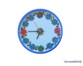 Blue Wall Clock, Art Wall Clock, Paper Quilling Art, Floral Kitchen Clock, Quilled home decoration