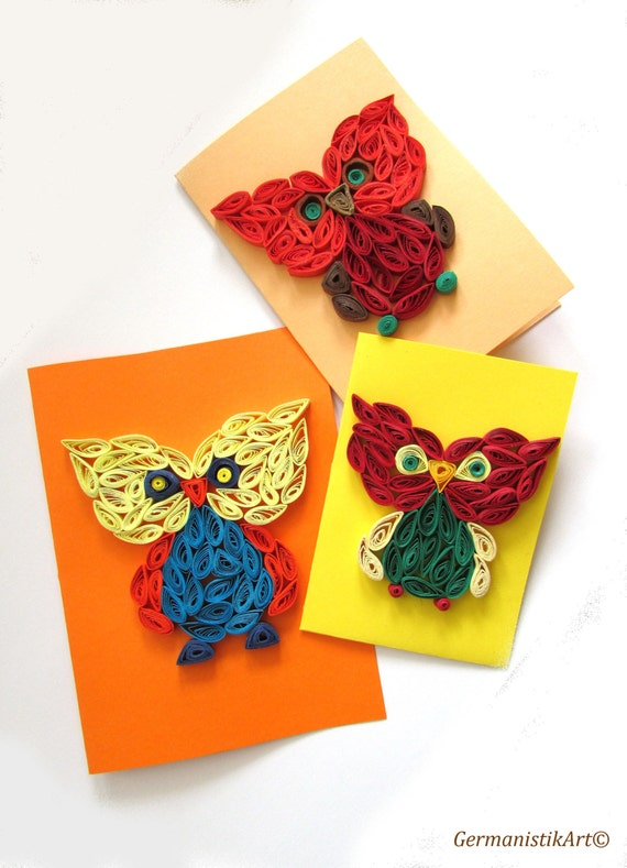 Quilled owl card set owl stationary bird cards by for Quilling kitchen set
