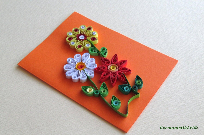 Joyeux anniversaire cartes fait main quilling fleur carte de - Carte anniversaire fait main ...