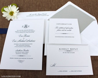 Deco Monogram Wedding Invitation