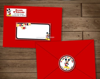 Mickey Mouse Address Labels and Envelope Seal - Red Yellow Black Mickey Envelope Lables - Mickey Invite Party Pack - My Celebration Shoppe