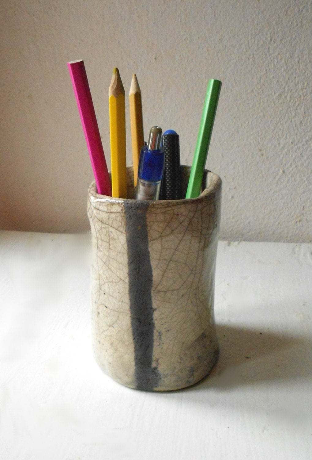 Raku Ceramic White And Black Pencil Holder Handmade