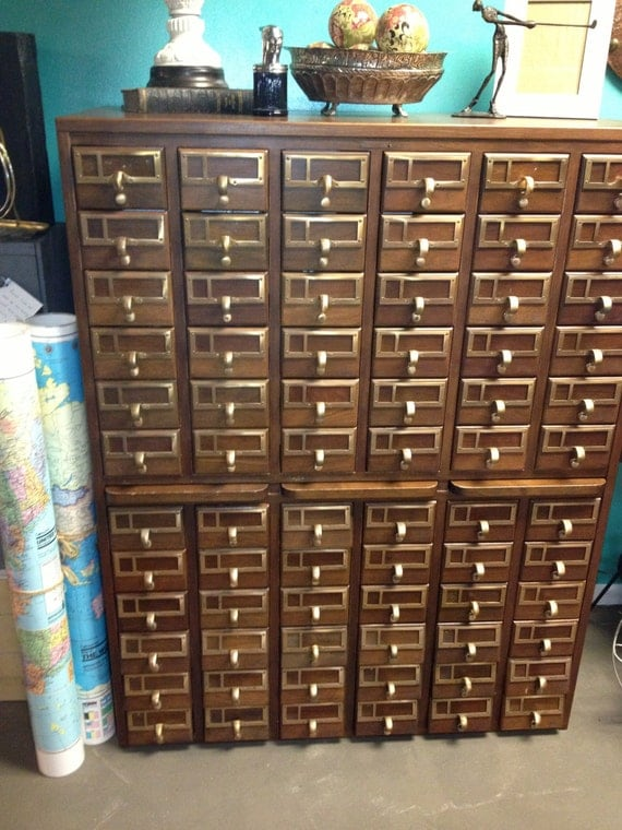 Library Card Catalog 72 Drawers Brass Hardware