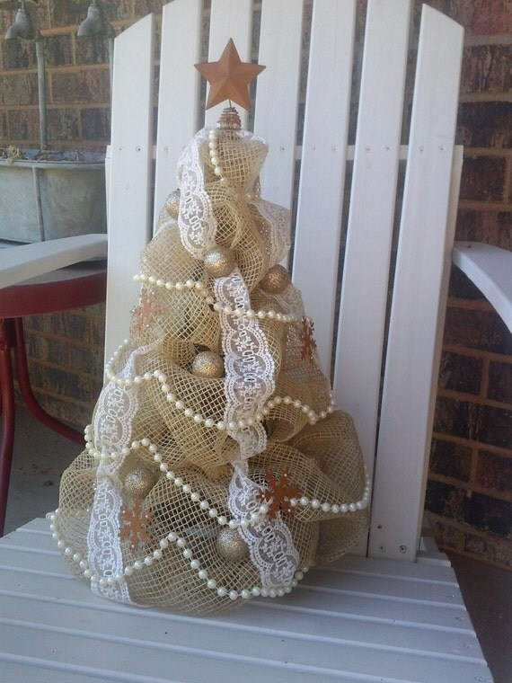 Items similar to custom order natural net and lace shabby - Navidad shabby chic ...