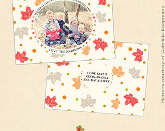 INSTANT DOWNLOAD 5x7 Thanksgiving Card Photoshop Template - CA154
