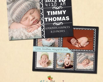 INSTANT DOWNLOAD 5x7 Birth Announcement Card Template - CA277