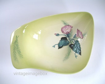 CarltonWare bowl Convolvulus Morning Glory flower, 1950s pottery, vintage ceramic dish