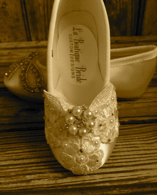 Custom Ballet Style Ivory Flower Girl Shoes Satin Beaded