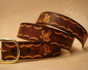 """Hand Tooled Leather Belt - Custom Leather Belt - Personalized Leather Belt - Brown 1-1/2"""" Eagle Pattern"""