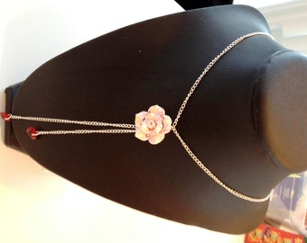 Flirty Flower and Dangle Hearts Necklace on a Silver Plated Chain