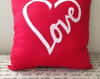 Decorative Pillow, Love Pillow, Throw Pillow, Red Love Pillow