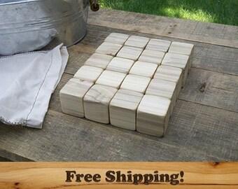 50 Poplar Wood Blocks, All Natural Baby blocks, Baby Shower Activity, 1.5 Inch Square Wooden Building Block Set