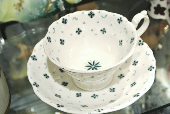 1800s Antique Cup and Saucer Staffordshire GFB George Frederick Bowers Knot Mark Spangle Victorian Pre Civil War Mid 1800s Scarce China