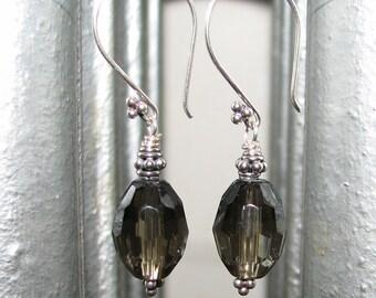 Smokey Quartz and Bali Sterling Silver Dangle Earrings